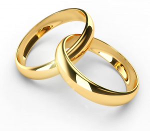 Photo of wedding rings intertwined